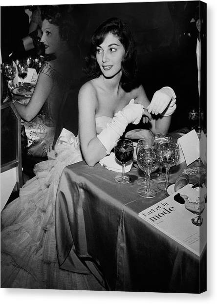 Pier Agnelli Wearing An Evening Gown At A Ball Canvas Print by Nick De Morgoli