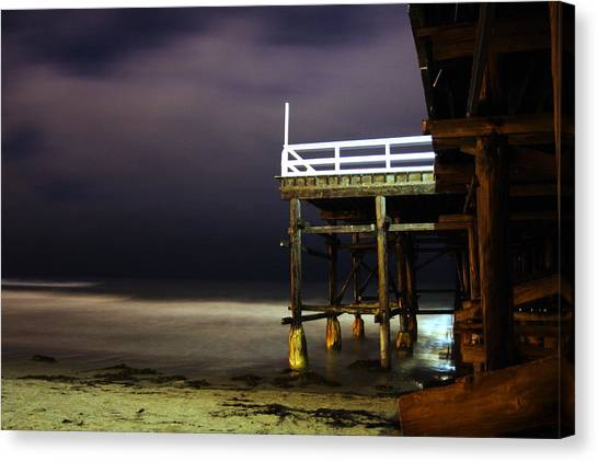 Pier At Night - 2 Canvas Print by Carrie Warlaumont