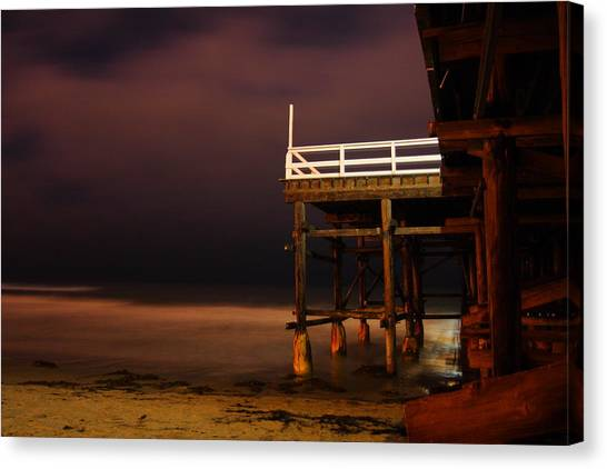Pier At Night Canvas Print by Carrie Warlaumont