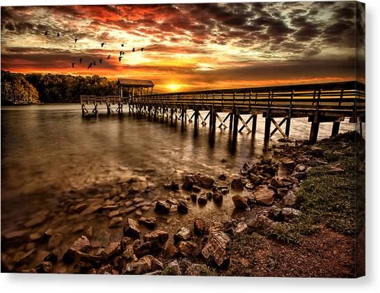 Canvas Print - Pier At Smith Mountain Lake by Joshua Minso