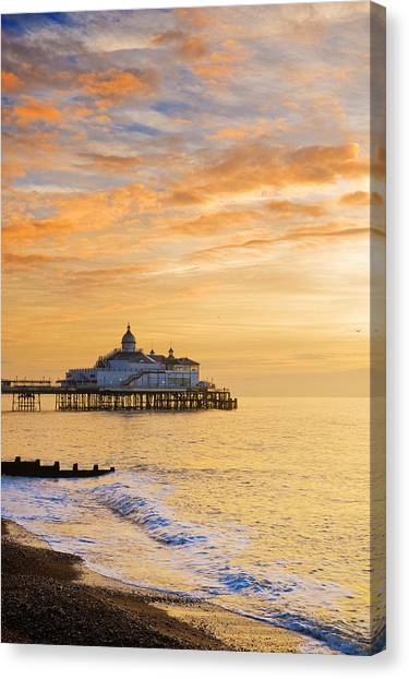 Pier At Sunrise Canvas Print