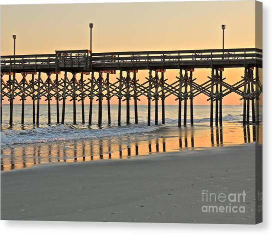 Pier At Sunset Canvas Print