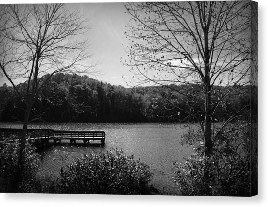 Canvas Print featuring the photograph Pier At Table Rock In Black And White by Kelly Hazel
