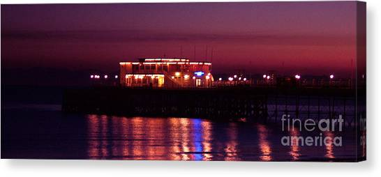 Pier By Night Canvas Print by Mark Bowden