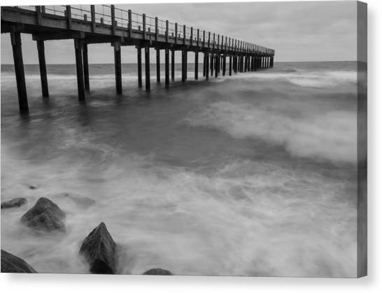 Pier In A Storm Canvas Print