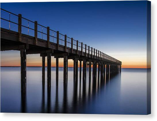 Pier In Blue Canvas Print