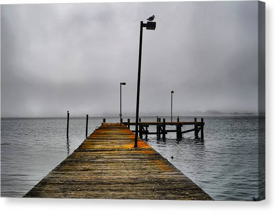 Pier Into The Fog Canvas Print