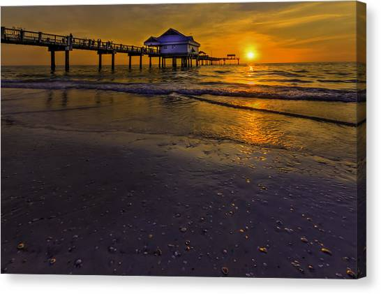 Low Tide Canvas Print - Pier Into The Sun by Marvin Spates
