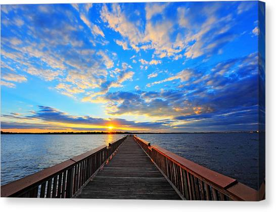 Pier Into The Sunset Canvas Print