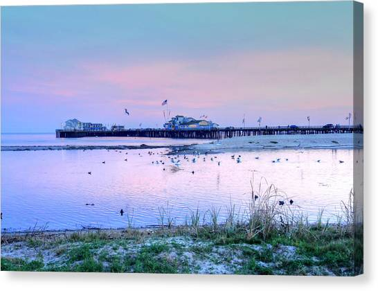 Pier Pond And Sea Canvas Print