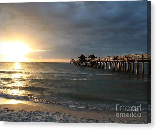 Canvas Print - Pier Sunset Naples by Christiane Schulze Art And Photography