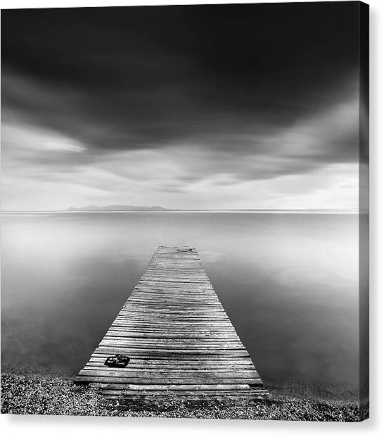 Long jetty canvas print pier with slippers by george digalakis