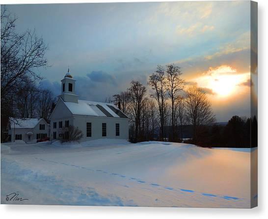 Piermont Church In Winter Light Canvas Print