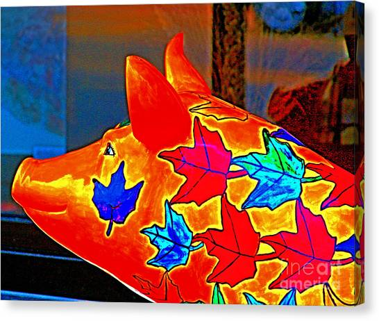 Pig Art Statuary Head Leaves Canvas Print by Margaret Newcomb