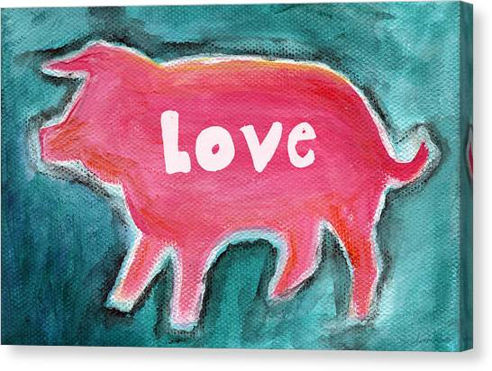 Bacon Canvas Print - Pig Love by Linda Woods