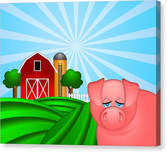 Farm Raised Pigs Canvas Print - Pig On Green Pasture With Red Barn With Grain Silo  by Jit Lim