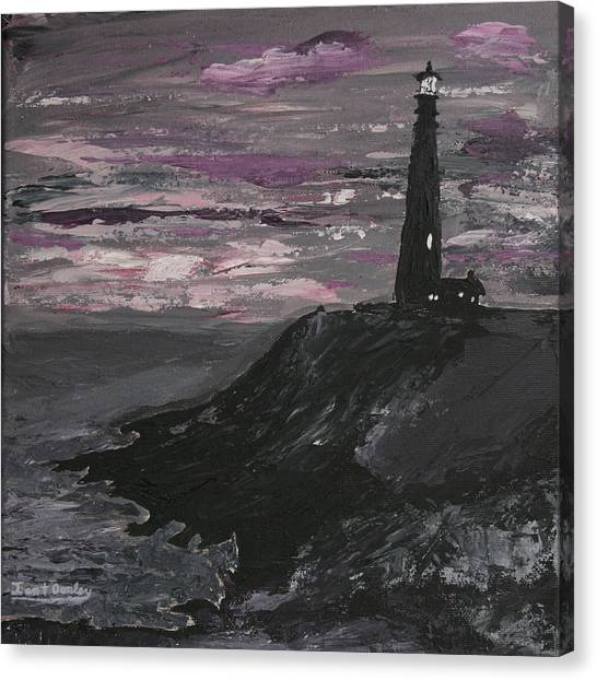 Pigeon Lighthouse Impasto Sunset Monochromatic Canvas Print
