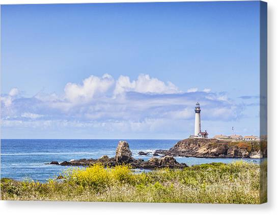 Pigeons Canvas Print - Pigeon Point Lighthouse California by Colin and Linda McKie