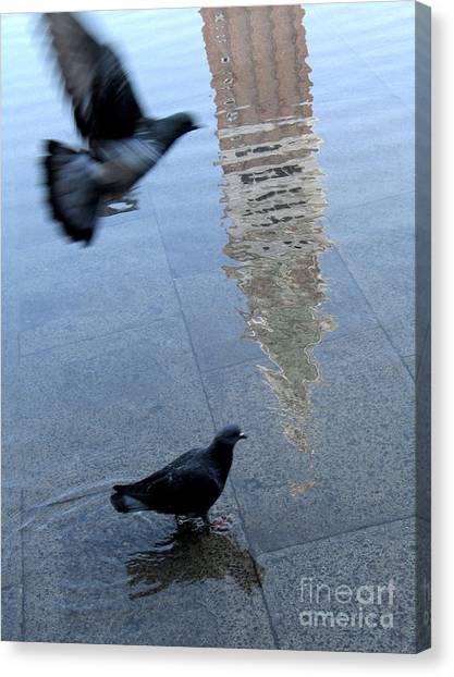 Flooding Canvas Print - Pigeons In Piazza San Marco. Venice. Italy. by Bernard Jaubert