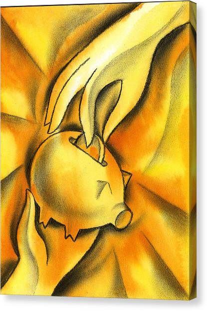 Currency Canvas Print - Piggy Bank by Leon Zernitsky