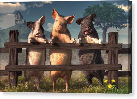 Pigs On A Fence Canvas Print