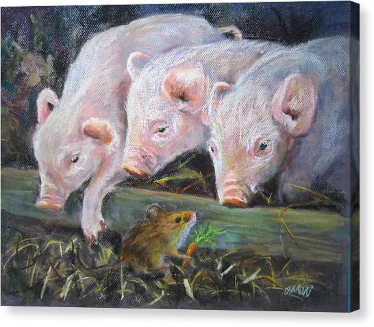 Pigs Vs Mouse Canvas Print