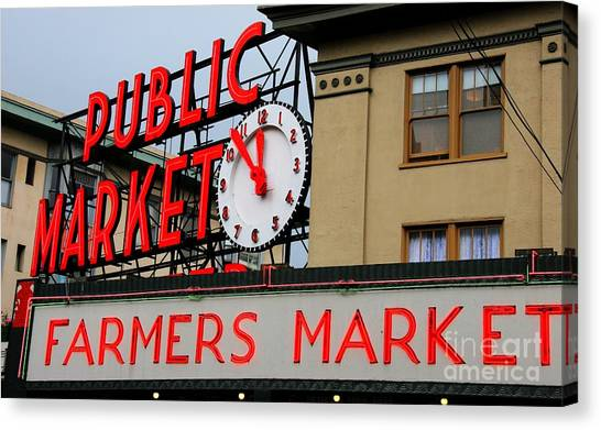 Pike Place Farmers Market Sign Canvas Print