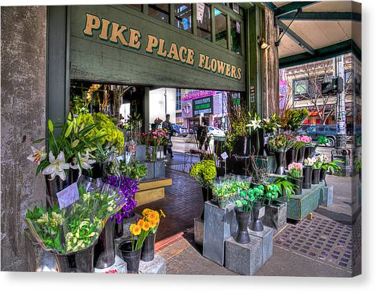 Flower Shop Canvas Print - Pike Place Flowers by Spencer McDonald