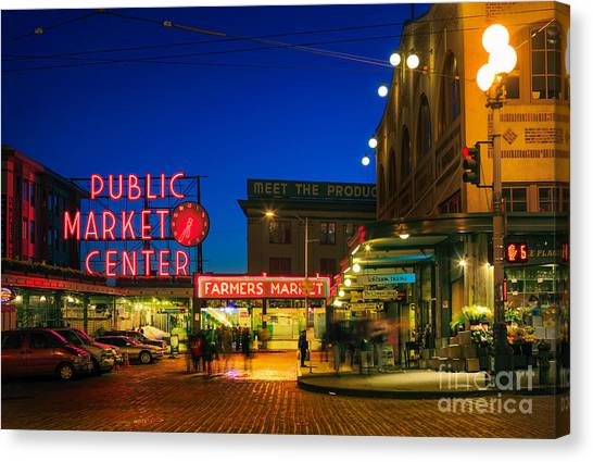 Streetlights Canvas Print - Pike Place Market by Inge Johnsson