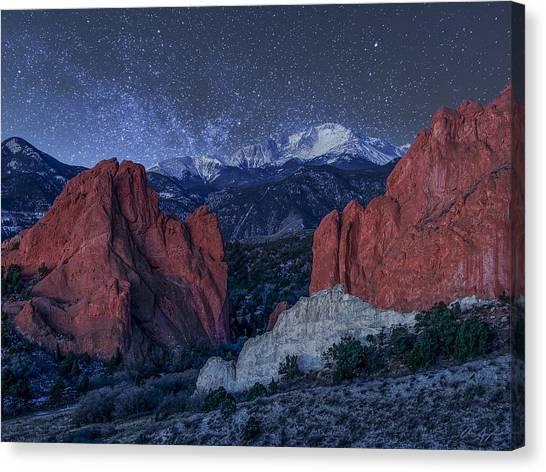 Pikes Peak At Night Canvas Print