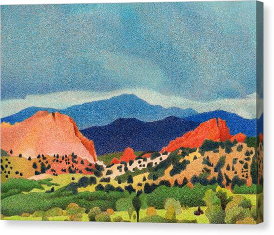 Garden Of The Gods Pikes Peak Canvas Print