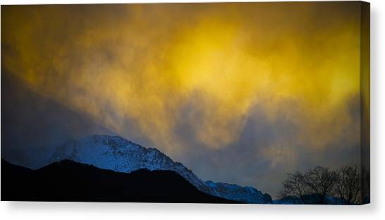 Pike's Peak Snow At Sunset Canvas Print