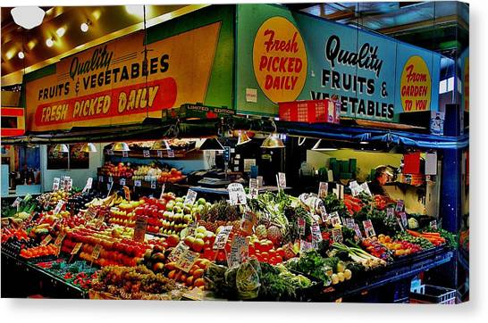 Vegetable Stand Canvas Print - Pikes Produce by Benjamin Yeager