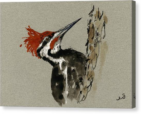 Woodpecker Canvas Print - Pileated Woodpecker by Juan  Bosco