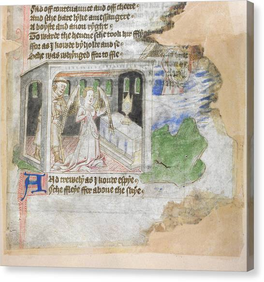 Pilgrims Canvas Print - Pilgrim And Prayer In A Chapel by British Library