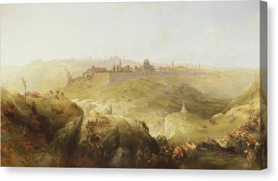 Pilgrims Canvas Print - Pilgrims Approaching Jerusalem by David Roberts