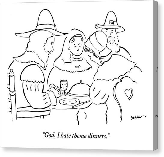 Pilgrims Canvas Print - Pilgrims At Thanksgiving Dinner Table by Michael Shaw