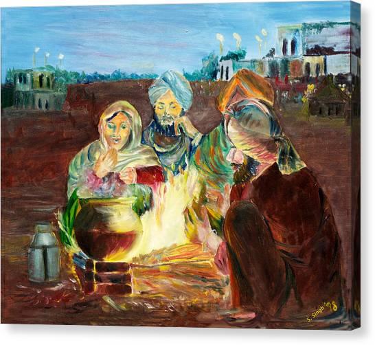 Sikh Art Canvas Print - Pilgrims by Sarabjit Singh