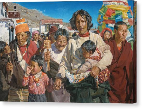 Pilgrims Canvas Print - Pilgrims by Victoria Kharchenko