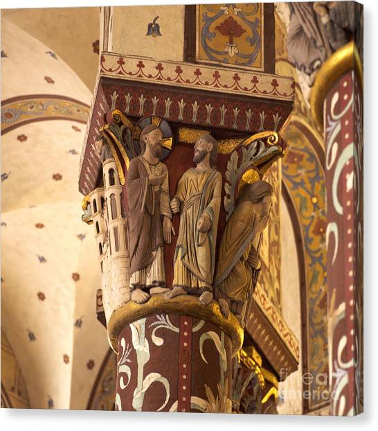 Romanesque Art Canvas Print - Pillar In The Roman Church Of Saint-austremoine D'issoire. Auvergne. France. Europe by Bernard Jaubert