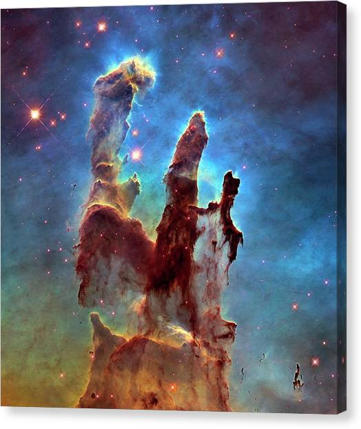 Canvas Print - Pillars Of Creation In Eagle Nebula by Nasa, Esa, And The Hubble Heritage Team (stsci/aura)/science Photo Library