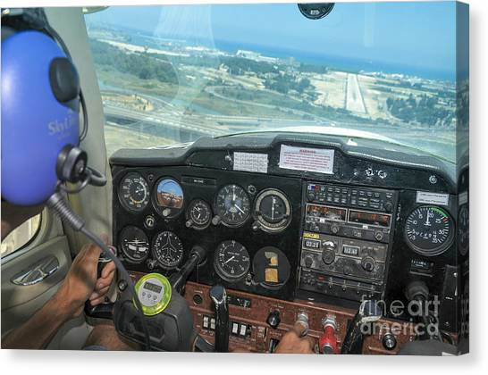 Cessnas Canvas Print - Pilot In Cessna Cockpit by Shay Levy