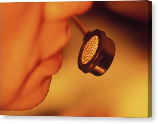 Air Traffic Control Canvas Print - Pilot Speaking Into A Microphone by Ton Kinsbergen/science Photo Library