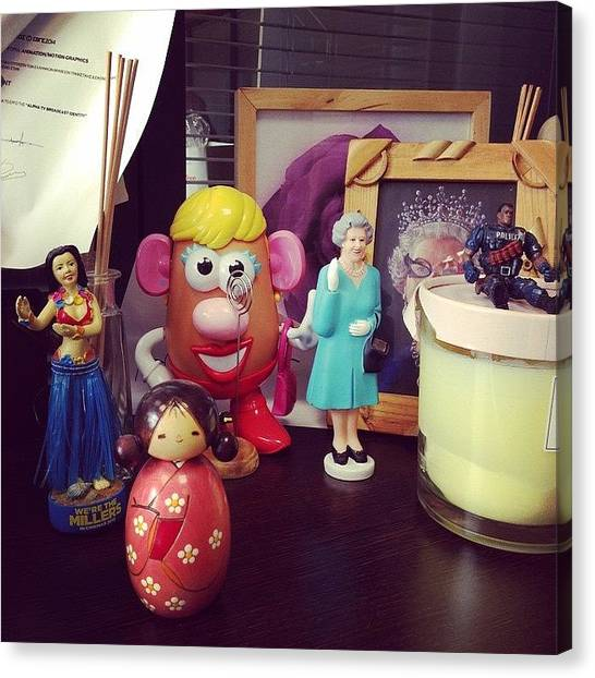 Queen Elizabeth Canvas Print - @pimif 's #office #toys Just Before by Nick Cayne