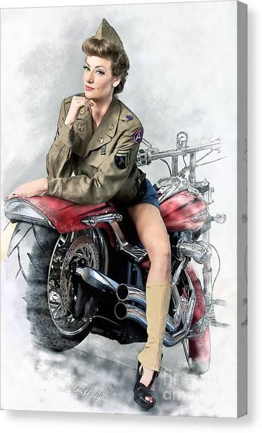 Pin-up Biker  Canvas Print
