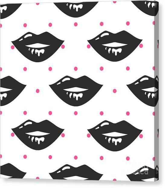 Pin Up Girl Style Wet Black Lipstick Canvas Print by Yopixart