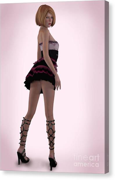Pin Up In Pink Canvas Print
