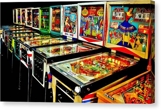 Arcade Games Canvas Print - Pinball Alley by Benjamin Yeager