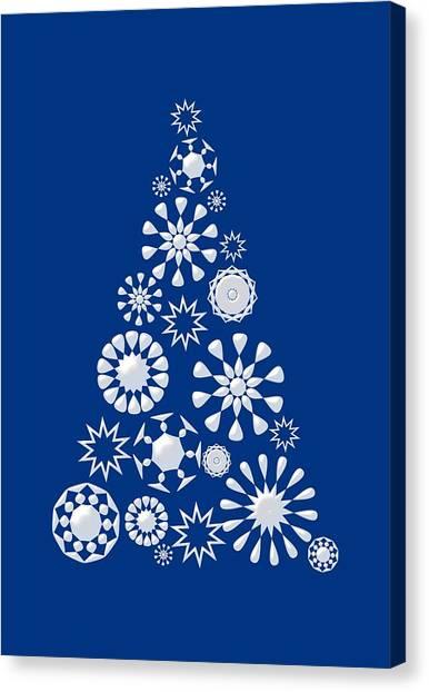 Christmas Tree Canvas Print - Pine Tree Snowflakes - Dark Blue by Anastasiya Malakhova