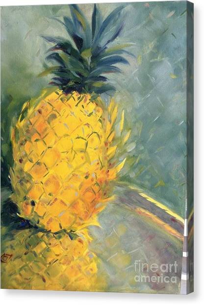Pineapple On Soft Green Canvas Print